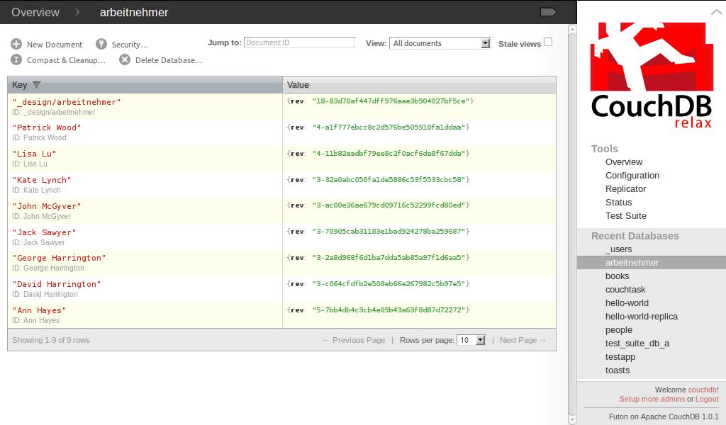 Datenbankansicht im Webinterface Futon