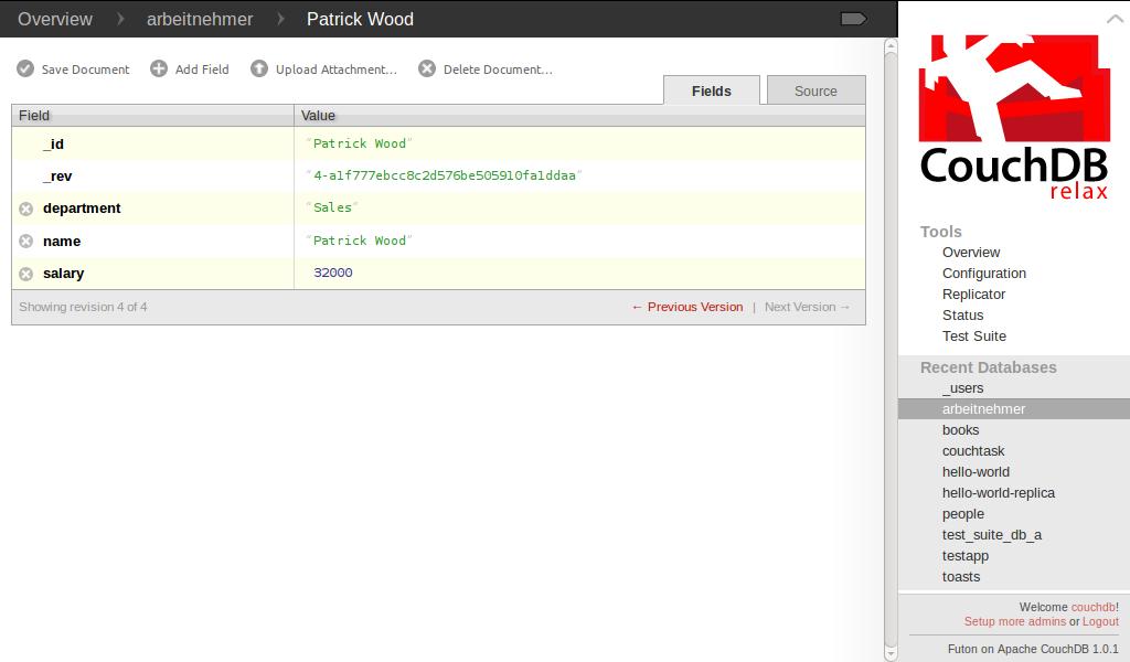 Dokumentenansicht (Fields) im Webinterface Futon