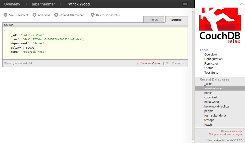 Dokumentenansicht (Source) im Webinterface Futon