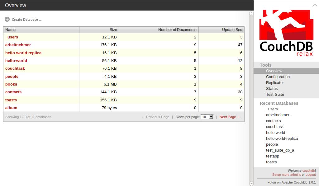 Ansicht Overview im Webinterface Futon